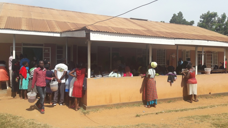 The Kasangati public district health facility waiting room, many people tavel far for treatment.