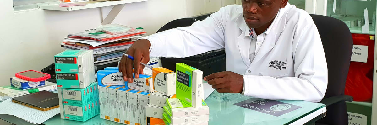Pharmacist records medicine stock